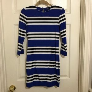 French Connection Long Sleeve Striped Dress EUC 6